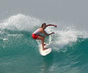 Doris Then surfing sri lanka surfboard