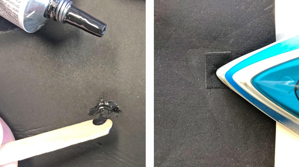 Neoprenanzug reparatur mit neoprenkleber und flicken